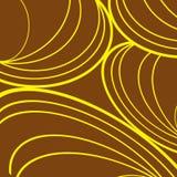Καφετί υπόβαθρο, κίτρινες παχιές και λεπτές γραμμές στις καμπύλες διανυσματική απεικόνιση