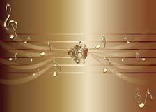 Καφετί υπόβαθρο με τις χρυσές σημειώσεις μουσικής και την τριπλή απεικόνιση clef Στοκ εικόνες με δικαίωμα ελεύθερης χρήσης