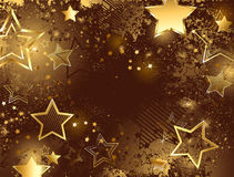 Καφετί υπόβαθρο με τα χρυσά αστέρια Στοκ Εικόνες