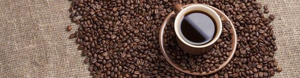 Καφετί φλυτζάνι με τον καφέ στα φασόλια καφέ Στοκ Φωτογραφία