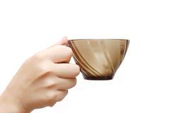 καφετί χέρι γυαλιού φλυτ&z Στοκ Εικόνες