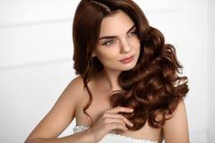 Καφετί χρώμα τρίχας Όμορφο πρότυπο κοριτσιών με κυματιστό σγουρό Hairstyle Στοκ Εικόνες