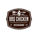 Καφετί BBQ λογότυπο κοτόπουλου Στοκ φωτογραφίες με δικαίωμα ελεύθερης χρήσης