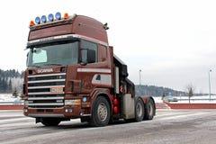 Καφετί Scania 144 τρακτέρ φορτηγών Στοκ φωτογραφία με δικαίωμα ελεύθερης χρήσης