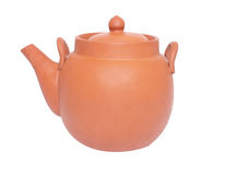 Καφετί tea-pot στο λευκό Στοκ φωτογραφία με δικαίωμα ελεύθερης χρήσης