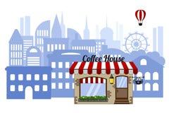 Καφετερία στο υπόβαθρο της πόλης Εικονική παράσταση πόλης με ένα μπαλόνι σε ένα άσπρο υπόβαθρο διανυσματική απεικόνιση