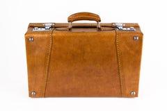 Καφετιά αναδρομική βαλίτσα Στοκ εικόνες με δικαίωμα ελεύθερης χρήσης
