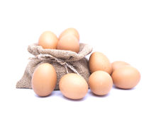 Καφετιά αυγά και καφετής σάκος Στοκ Φωτογραφία