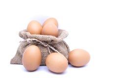 Καφετιά αυγά στον καφετή σάκο Στοκ εικόνες με δικαίωμα ελεύθερης χρήσης