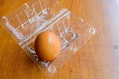 Καφετιά αυγά στο πλαστικό κιβώτιο στο ξύλινο υπόβαθρο Στοκ εικόνα με δικαίωμα ελεύθερης χρήσης
