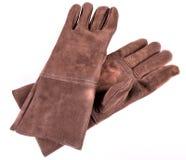 Καφετιά γάντια οξυγονοκολλητών δέρματος Στοκ εικόνες με δικαίωμα ελεύθερης χρήσης