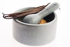 Καφετιά ζάχαρη βανίλιας και φασόλια βανίλιας στο κονίαμα Στοκ Εικόνες