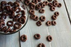 Καφετιά δημητριακά στο κύπελλο με το γάλα Στοκ εικόνα με δικαίωμα ελεύθερης χρήσης