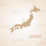Καφετιά διανυσματική απεικόνιση χαρτών της Ιαπωνίας διανυσματική απεικόνιση