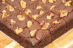 Καφετιά κέικ με τα καρύδια ως επιδόρπια στοκ εικόνες