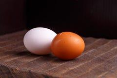 Καφετιά και άσπρα αυγά κοτόπουλου Στοκ Φωτογραφία