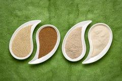 Καφετιά και σιτάρι και αλεύρι ελεφαντόδοντου teff στοκ εικόνες με δικαίωμα ελεύθερης χρήσης