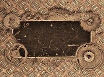 Καφετιά κενή παλαιά ετικέτα στα εργαλεία στη σύσταση πιάτων διαμαντιών Στοκ Εικόνα
