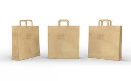 Καφετιά κενή τσάντα εγγράφου που απομονώνεται στο λευκό με το ψαλίδισμα της πορείας Στοκ Φωτογραφίες