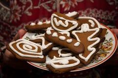 Καφετιά μπισκότα για τα Χριστούγεννα σε ένα πιάτο Στοκ Εικόνες