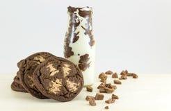 Καφετιά μπισκότα και γάλα τσιπ σοκολάτας Στοκ εικόνα με δικαίωμα ελεύθερης χρήσης