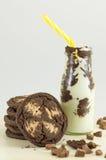 Καφετιά μπισκότα και γάλα τσιπ σοκολάτας Στοκ Εικόνες