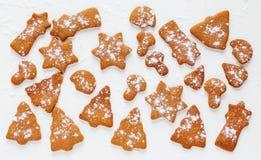 Καφετιά μπισκότα σοκολάτας και πιπεροριζών Χριστουγέννων στη μορφή fir-tree, του αστεριού, του φεγγαριού και των μανιταριών Στοκ Εικόνες