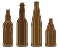 Καφετιά μπουκάλια γυαλιού στο άσπρο υπόβαθρο Στοκ Εικόνες