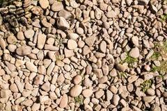 Καφετιά πέτρα σε ένα ισόγειο με κάποιο ζιζάνιο Στοκ εικόνες με δικαίωμα ελεύθερης χρήσης
