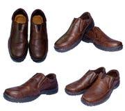 Καφετιά παπούτσια δέρματος από δεύτερο χέρι για τα άτομα Στοκ εικόνα με δικαίωμα ελεύθερης χρήσης