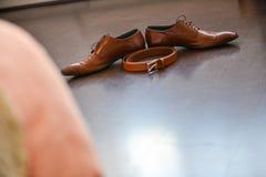 καφετιά παπούτσια δέρματος Στοκ φωτογραφία με δικαίωμα ελεύθερης χρήσης