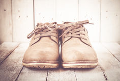 Καφετιά παπούτσια ατόμων Στοκ Φωτογραφία