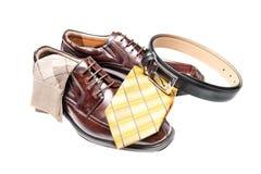καφετιά παπούτσια γραβατών δέρματος Στοκ Φωτογραφία
