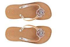καφετιά παπούτσια λουλουδιών πτώσεων κτυπήματος παραλιών Στοκ Εικόνες