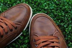 καφετιά παπούτσια Στοκ Φωτογραφίες