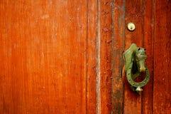 Καφετιά πόρτα με doorhandle κεφαλιών αλόγων χαλκού στοκ εικόνα με δικαίωμα ελεύθερης χρήσης