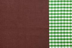 Καφετιά σύσταση λινού για το υπόβαθρο Πράσινος καμβάς λινού ταρτάν Η εικόνα υποβάθρου, σύσταση Στοκ Φωτογραφία