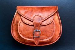 Καφετιά τσάντα δέρματος, τσάντα Στοκ Εικόνες