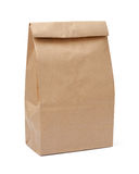 Καφετιά τσάντα μεσημεριανού γεύματος με το ψαλίδισμα της πορείας Στοκ Εικόνες