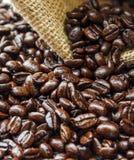 Καφετιά φασόλια καφέ στην τσάντα που απομονώνεται Στοκ φωτογραφία με δικαίωμα ελεύθερης χρήσης