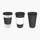 Καφετιά φλυτζάνια για τον καφέ Στοκ Φωτογραφία