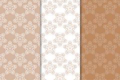 Καφετιά floral υπόβαθρα άνευ ραφής σύνολο προτύπων Στοκ Εικόνα