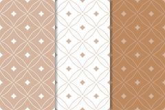 Καφετιές και άσπρες γεωμετρικές διακοσμήσεις άνευ ραφής σύνολο προτύπων Στοκ Εικόνες