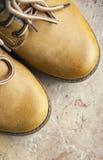 καφετιές μπότα και δαντέλλες δέρματος Στοκ Εικόνα