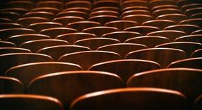 Καφετιές ξύλινες καρέκλες στην αίθουσα συνεδριάσεων χωρίς ανθρώπους Στοκ Φωτογραφίες