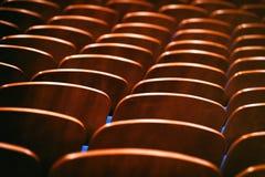 Καφετιές ξύλινες καρέκλες στην αίθουσα συνεδριάσεων χωρίς ανθρώπους Στοκ Φωτογραφία