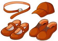 Καφετιές παπούτσια και ζώνη διανυσματική απεικόνιση