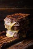 Καφετιές φρυγανιές ψωμιού με το ψημένο στη σχάρα τυρί στο σκοτεινό ξύλινο υπόβαθρο Εκλεκτική εστίαση Στοκ Εικόνα