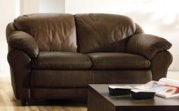Καφετιοί καναπές και πίνακας δέρματος Στοκ Φωτογραφία