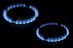 Καύση φυσικού αερίου στον καυστήρα Στοκ Φωτογραφίες